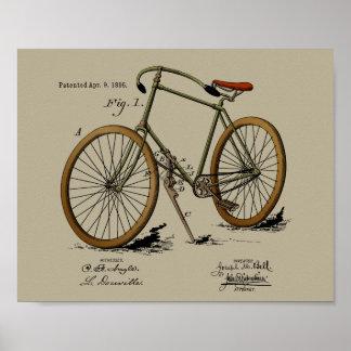 1895 Vintage Bicycle Patent Color Art Print