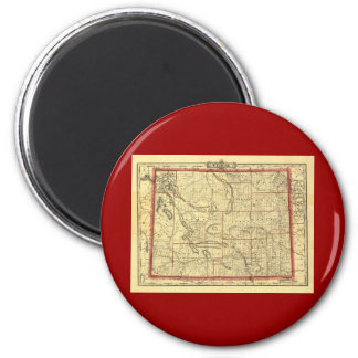 1895 Wyoming Map 2 Inch Round Magnet