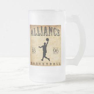 1896 Alliance Ohio Basketball Frosted Glass Beer Mug