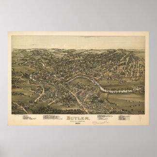 1896 Butler, PA Birds Eye View Panoramic Map Poster