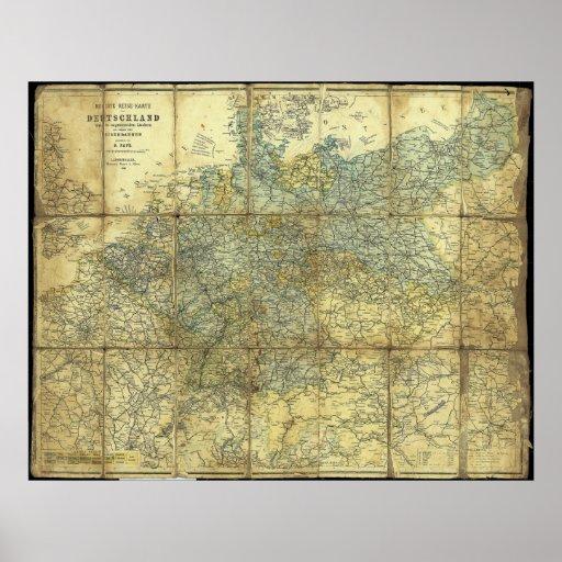 1896 German Travelers' Map Poster
