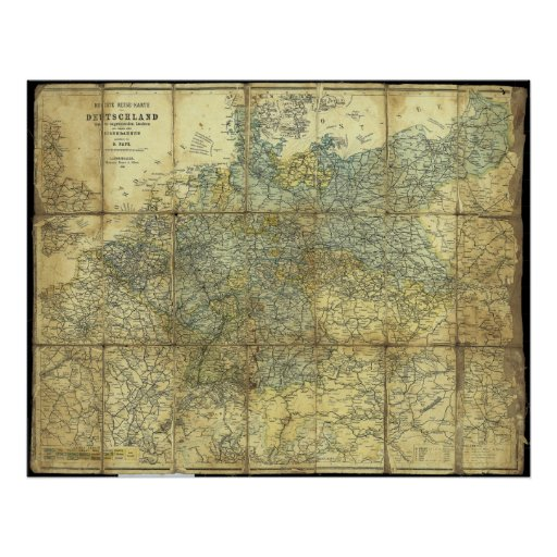 1896 German Travelers' Map Print