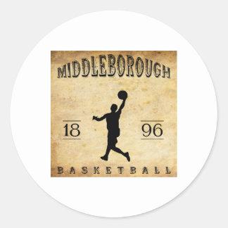 1896 Middleborough Massachusetts Basketball Classic Round Sticker