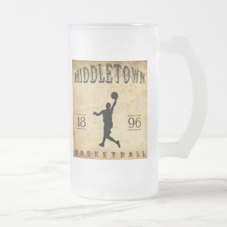 1896 Middletown Connecticut Basketball Frosted Glass Beer Mug