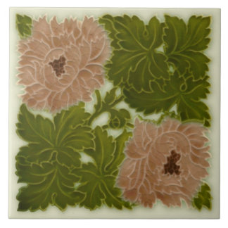 1896 Minton Peony Pink & Green Majolica Tile Repro