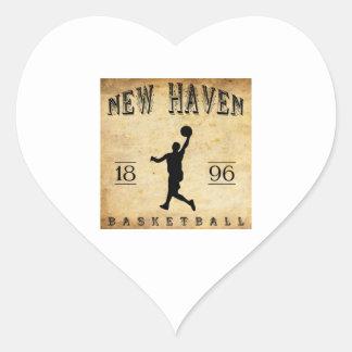 1896 New Haven Connecticut Basketball Heart Sticker