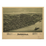 1896 Sistersville WV Bird's Eye View Panoramic Map Posters