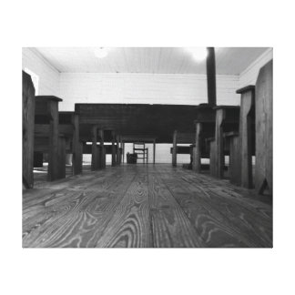 1896 Southern School House Black and White Canvas Stretched Canvas Print