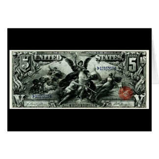 1896 US Five Dollar silver Certificate Greeting Card