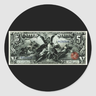 1896 US Five Dollar silver Certificate Classic Round Sticker