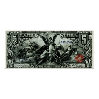 1896 US Five Dollar Silver Certificate Poster