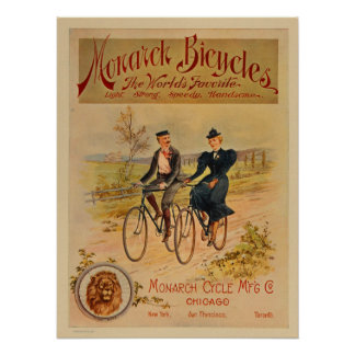 1896 Vintage Color Monarch Bicycles Ad Art Poster