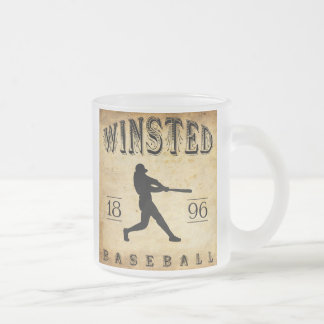 1896 Winsted Connecticut Baseball Frosted Glass Coffee Mug