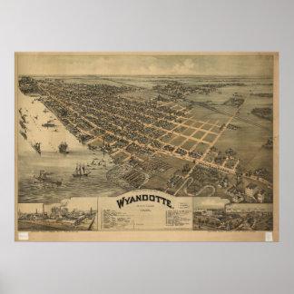 1896 Wyandotte, MI Birds Eye View Panoramic Map Poster