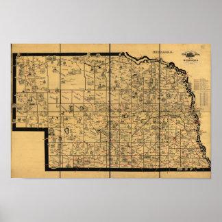 1897 Antique Railroad Map of Nebraska Poster