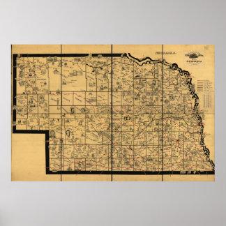 1897 Antique Railroad Map of Nebraska Posters
