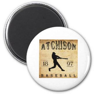 1897 Atchison Kansas Baseball 2 Inch Round Magnet