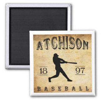 1897 Atchison Kansas Baseball 2 Inch Square Magnet
