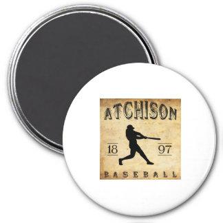 1897 Atchison Kansas Baseball 3 Inch Round Magnet
