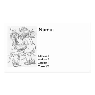 1897- baby washing own hair in pan Double-Sided standard business cards (Pack of 100)