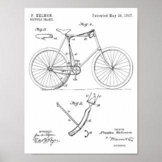 1897 Bicycle Brake Patent Art Drawing Print