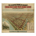 1897 Chicago, IL Birds Eye View Panoramic Map Posters