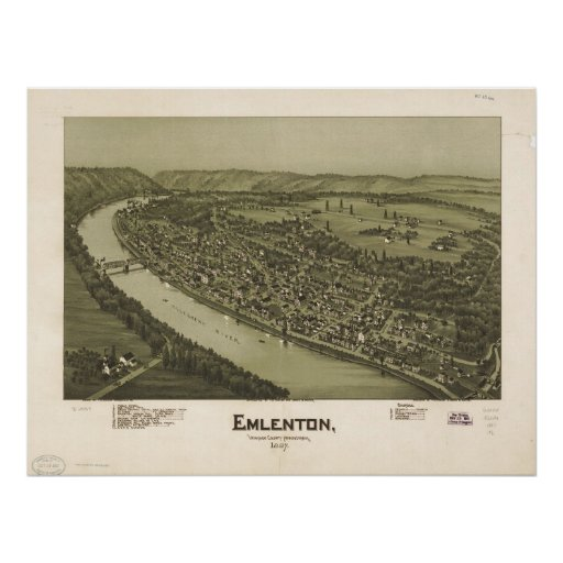 1897 Emlenton, PA Birds Eye View Panoramic Map Poster