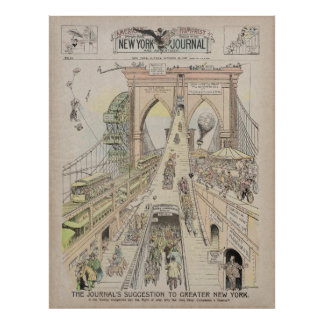 1897 FRONT PAGE BROOKLYN BRIDGE CONTROVERSY POSTER