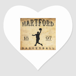 1897 Hartford Connecticut Basketball Heart Sticker