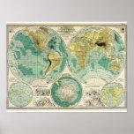 1897 mapa de Viejo Mundo - Tra antiguo Impresiones