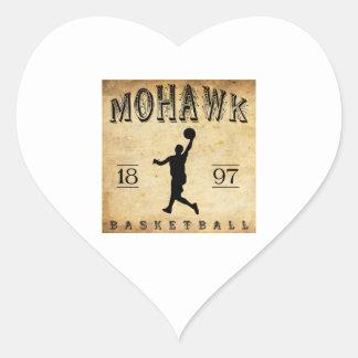 1897 Mohawk New York Basketball Heart Sticker