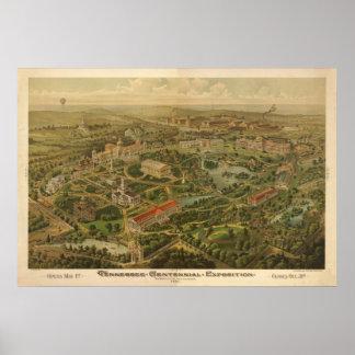 1897 Nashville, mapa panorámico de la expo centena Póster