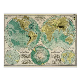 1897 Old World Map - Antique Tra Poster