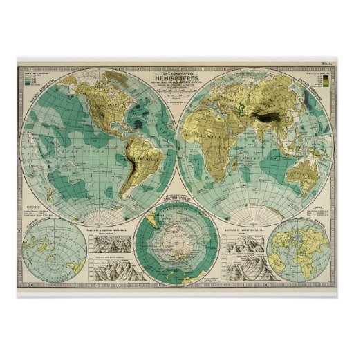1897 Old World Map Antique Tra Poster Zazzle