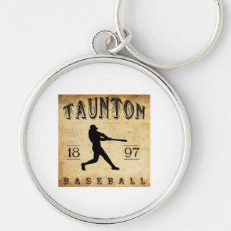 1897 Taunton Massachusetts Baseball Silver-Colored Round Keychain