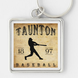 1897 Taunton Massachusetts Baseball Silver-Colored Square Keychain