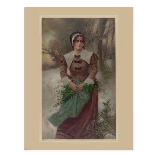 1897 un vintage justo de la doncella del puritano postal