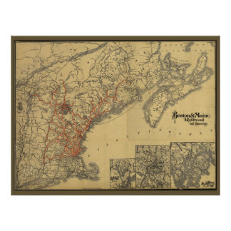 1898 Boston to Maine Railroad Map Poster