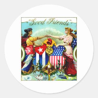 1898 buenos cigarros de los amigos pegatina redonda