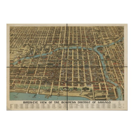 1898 Chicago, IL Birds Eye View Panoramic Map Poster