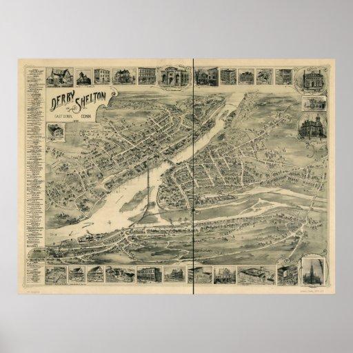 1898 Derby & Shelton CT Birds Eye Panoramic Map Poster