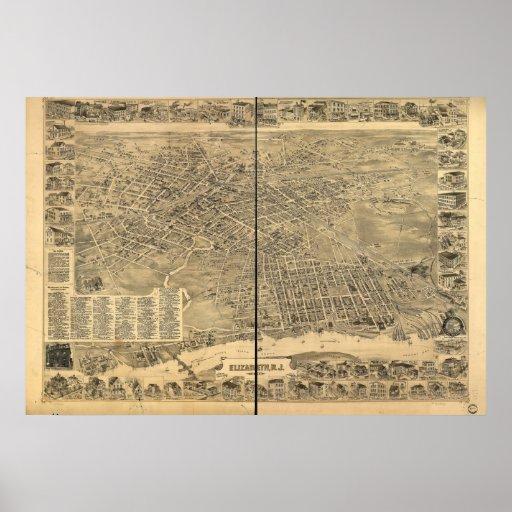 1898 Elizabeth, NJ Birds Eye View Panoramic Map Poster