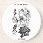 1898 French Corset Newspaper Image Beverage Coasters