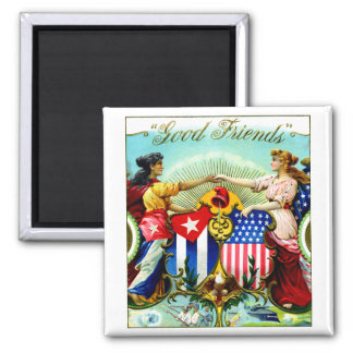 1898 Good Friends Cigars 2 Inch Square Magnet