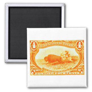 1898 Indian Hunting Buffalo 2 Inch Square Magnet