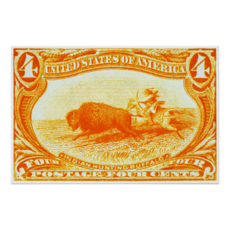 1898 Indian Hunting Buffalo Stamp Poster