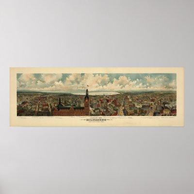 1898 Milwaukee, WI Birds Eye View Panoramic Map Print