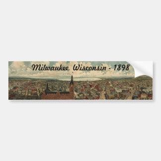 1898 Milwaukee, WI Birds Eye View Sticker! Bumper Sticker