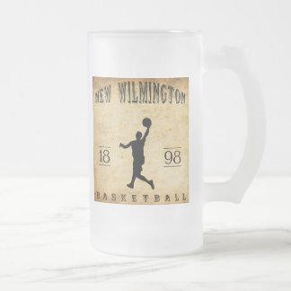 1898 New Wilmington Pennsylvania Basketball Frosted Glass Beer Mug