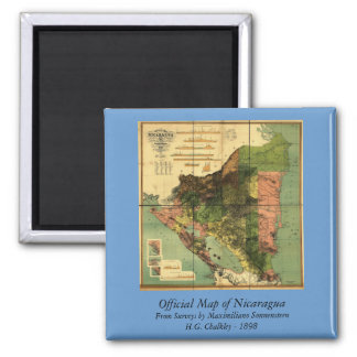 1898 Official Map of Nicaragua 2 Inch Square Magnet